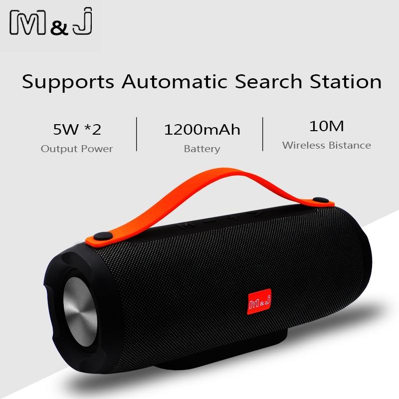 M & J portátil inalámbrico Bluetooth altavoz estéreo de gran potencia 10 W sistema TF FM Radio música Subwoofer columna altavoces para computadora