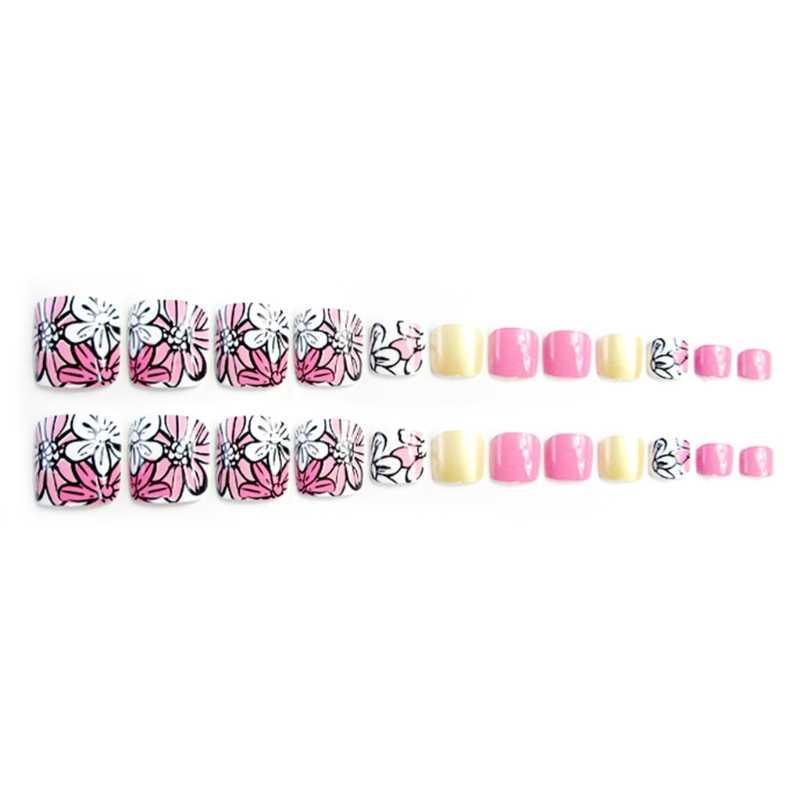24Pcs Nail Sticker Pattern Lemon Yellow Pink Decal Makeup Holiday Foot False Nail Tips Flower Fake Toes Nails Toe Art Tool