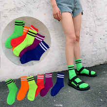Funny Cute Girls Socks Casual Striped Crew Candy Color High Street Woman Green Orange Blue Sock