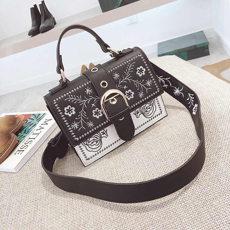Toposhine/Модная женская сумка с панелями; винтажные сумки с цветочным узором для девочек; черные женские сумки-мессенджеры из искусственной кожи; Прямая доставка
