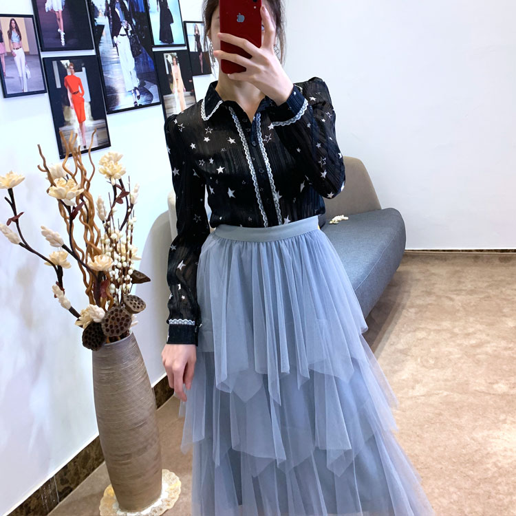 Women irregular Tulle Skirts Fashion Elastic High Waist Mesh Tutu Skirt Pleated Long Skirts Midi Skirt Saias Faldas Jupe Femmle 31