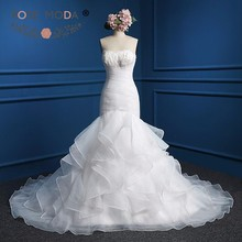 Rose Moda Organza Mermaid Wedding Dress Feather