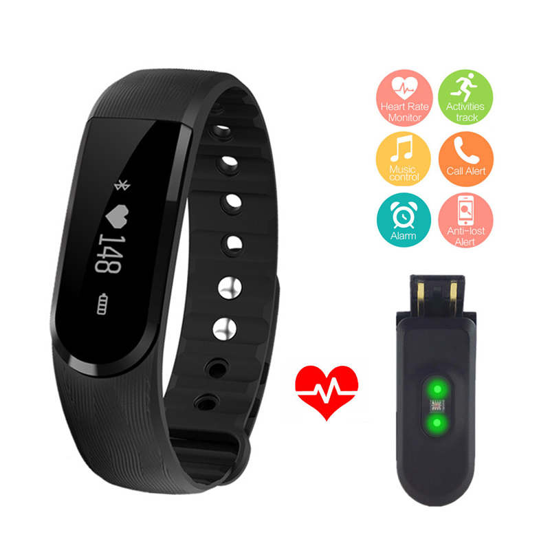 ID101 Braccialetto Intelligente BT4.0 Frequenza Cardiaca Monitor Smartband Pulse Sport Fitness Activity Tracker Wrist Band Music Control Wristband