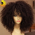 150 densidad del pelo humano pelucas llenas del cordón rizada rizada llena del cordón pelucas de pelo humano para las mujeres negras brasileña del frente del cordón del pelo humano pelucas