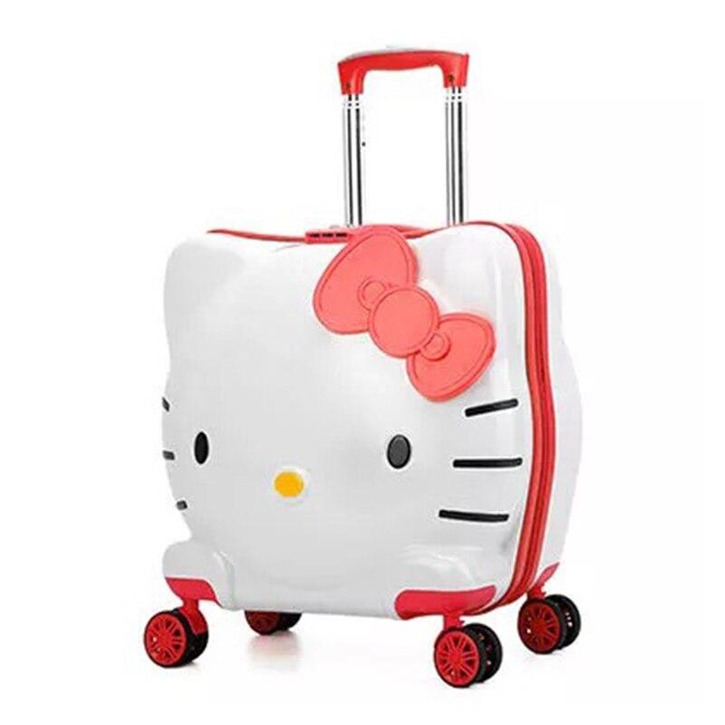 Kinder Hallo Kitty Roll Gepäck Tasche Kinder Koffer Mit Rädern Rosa Trolley Mit Schloss Jungen Mädchen Tragen Auf Reise Box