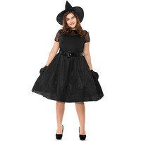Halloween black yarn witches large size costume style witch costume temperament witches dark night ghost plus size costumes