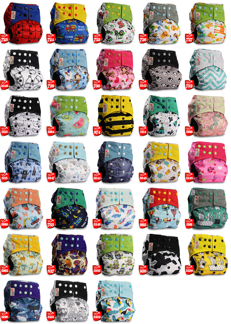 Set of 4 Fastener: Hook-Loop Reusable Pocket Cloth Nappy Littles /& Bloomz Patterns 403 with 8 Bamboo Charcoal Inserts