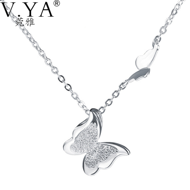 42CM+3CM Chain Pure S925 Silver Butterfly Pendants 100% Real 925 Sterling Silver Pendant Necklaces for Women Jewelry CP146