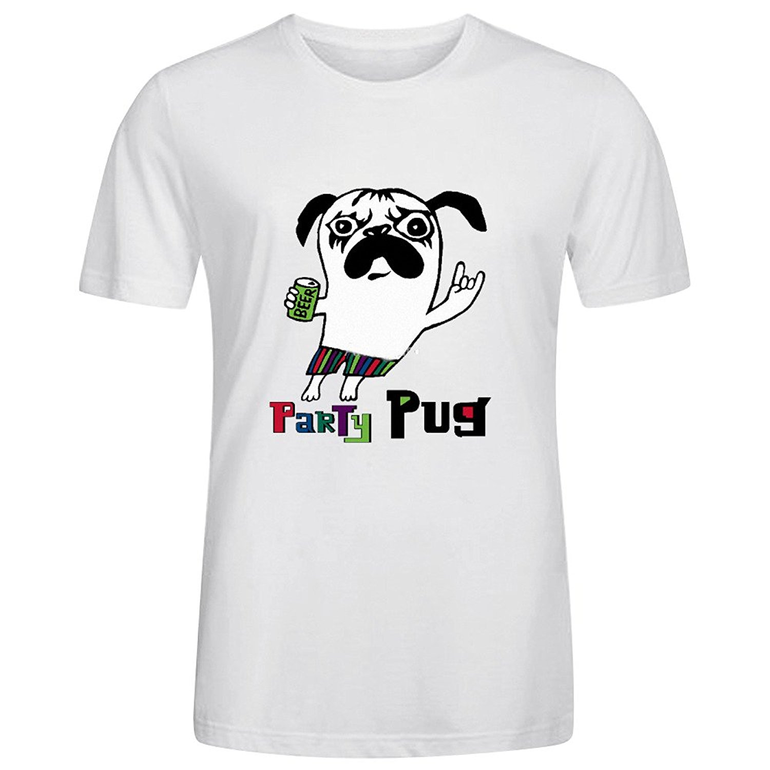 Party Pug On White T Shirts Mens