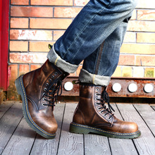 Free delivery 2016 new males's leather-based British wind Martin boots tooling heat high-top boots