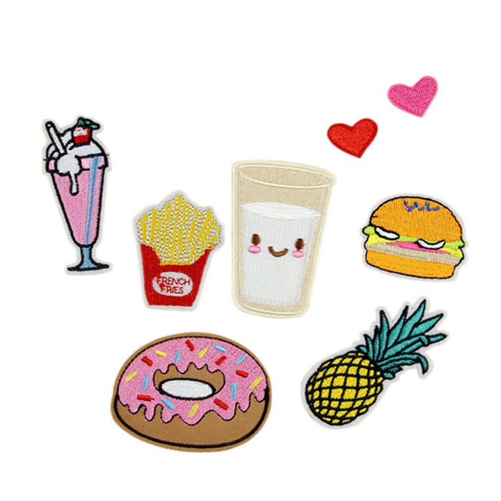 1 8pcs Iron On Food Embroidery Patches For Clothing Bag Shirt Phone Shell Patch Badges Stickers Custom Cute Patches Applique TB004