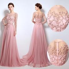 Vestiti Da Sera 2016 Custom Made Pembe Şifon Aplikler Boncuk Payetli Uzun Kollu Uzun Abiye Örgün Parti Elbise