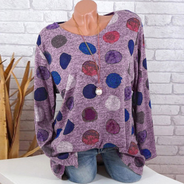 Plus Size Clothing Women Shirts Loose Round Neck Dot Print Tunic Tops Women Long Sleeve Round Neck Blouse blusas femininas  2
