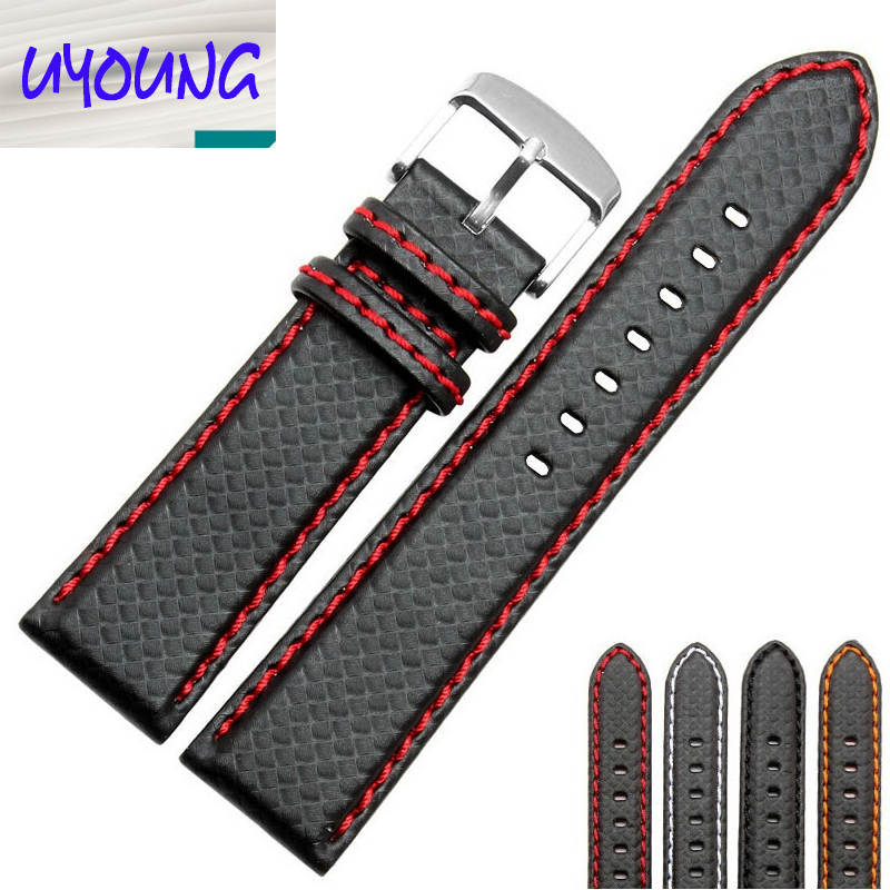 18mm 20mm 22mm 24mm Black Red Stitching Carbon Fiber Leather Watch Band strap sport eache 20mm 22mm 24mm 26mm genuine leather watch band crazy horse leather strap for p watch hand made with black buckles