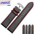 18mm 20mm 22mm 24mm Preto Costura Vermelha cinta Faixa de Relógio de Couro De Fibra De Carbono esporte