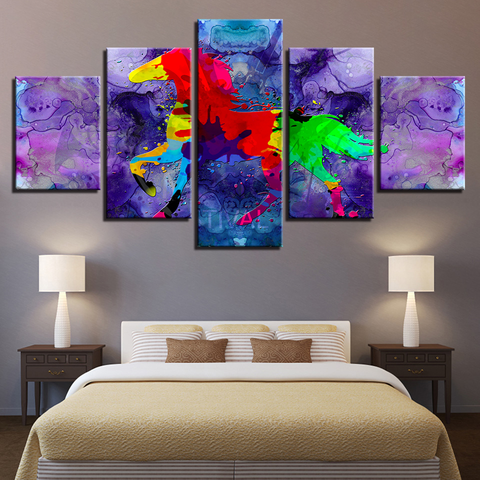 HD Print Pictures Poster Frame Decor Wall Art Living Room 5 Pieces Abstract Graffiti Color Animal Horse Canvas Painting Modular