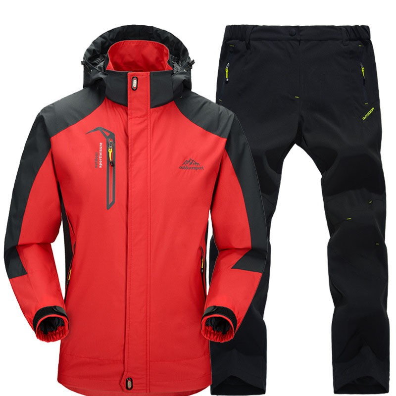 Spring Autumn Men Hiking Jackets Pants suits Male Outdoor Waterproof Windproof Trekking Camping Fishing Windbreaker Coat Sets