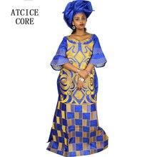 Африканские платья для женщин Модный Дизайн Африканский Базен вышивка дизайн платье длинное платье с шарфом Два шт один комплект A023