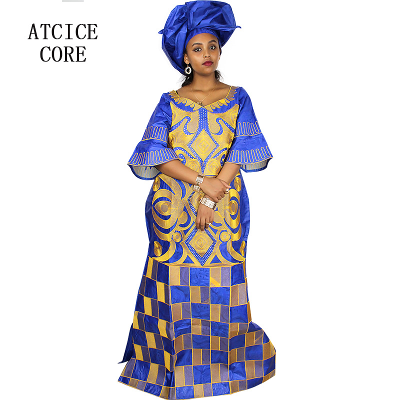 african dresses for women fashion design new african bazin embroidery design dress long dress with scarf two pcs one set A023# Платье