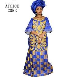 Afrikanische kleider für frauen mode-design neue afrikanische bazin stickerei design kleid lange kleid mit schal zwei stücke ein satz a023 #