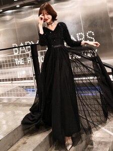 Image 5 - Weiyin 2020 ארוך פורמליות ערב שמלות שחור נשים של אלגנטי V צוואר ארוך שרוול נצנצים נשף ערב מסיבת שמלות WY1273