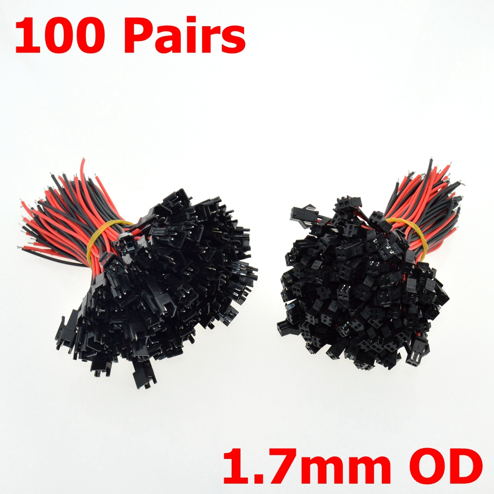 100 Sets 2Pins Female+Male SM Cable Wire Plug Connectors 22AWG 1.7mm OD 2.54mm Pin Pitch For LED Light power cable ...