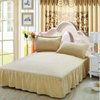 European bed Solid bed cover sheets bed cotton quilted lace bedspread 3pcs lace bed sheet