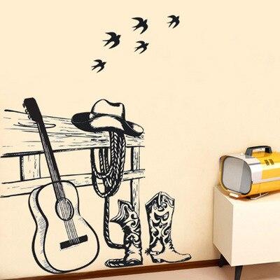 0e98344770 Vintage Dick und Cowboy Wandaufkleber Abstrakte Rock Aufkleber Klassische  Startseite Aufkleber Kreative Gitarre Poster Wand Dekor Tapeten in Vintage  Dick ...