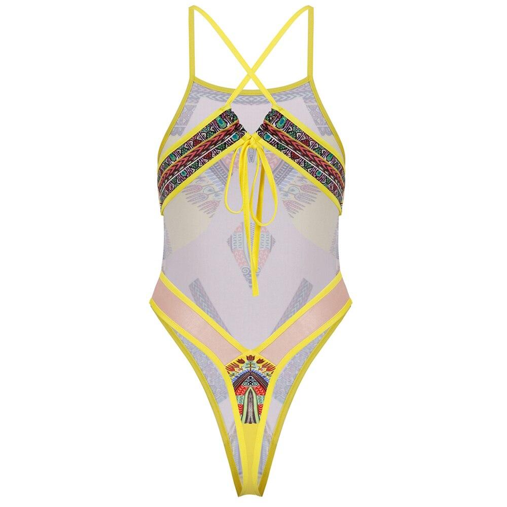 Sexy Transparent Swimsuit Dashiki Print