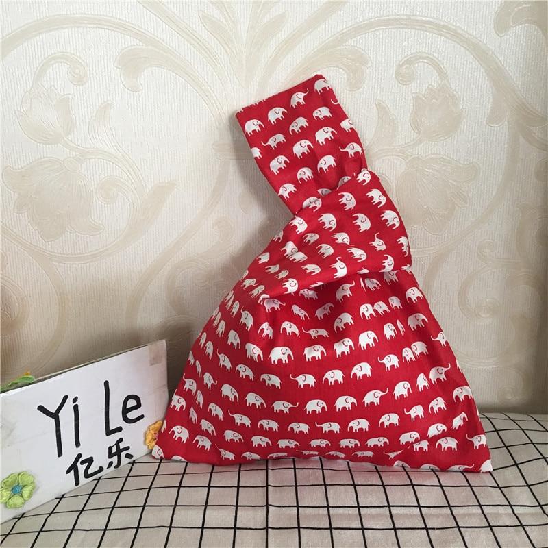 YILE Handmade Cotton Twill Wrap Knot Handbag Coin Phone Bag White Elephant Red Base 8326c