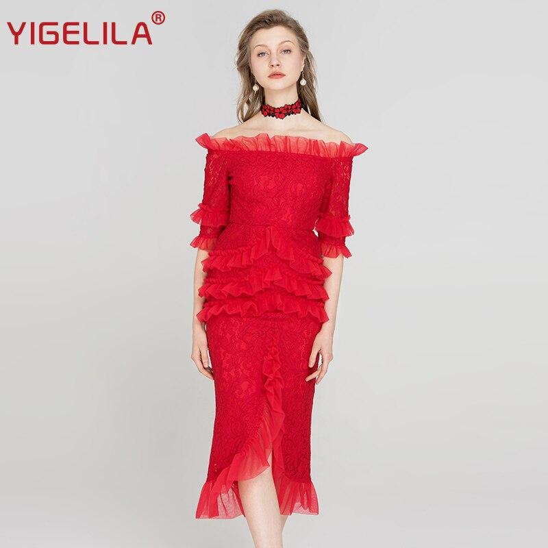 Женское кружевное платье YIGELILA, Красное Облегающее платье средней длины с вырезом лодочкой, открытыми плечами и рукавом до локтя, 63447