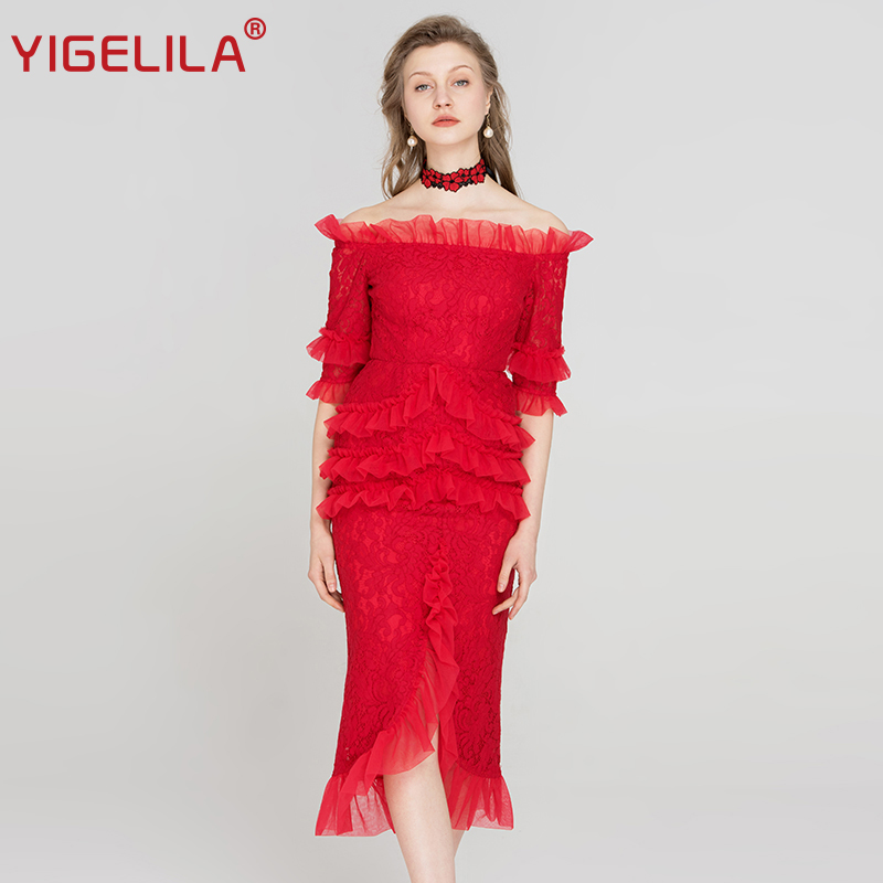 YIGELILA Spring Women Red Lace Dress Fashion Solid Slash Neck Off Shoulder Half Sleeve Empire Slim Bodycon Party Dress 63447 women s casual solid slash neck half sleeve lace crop top