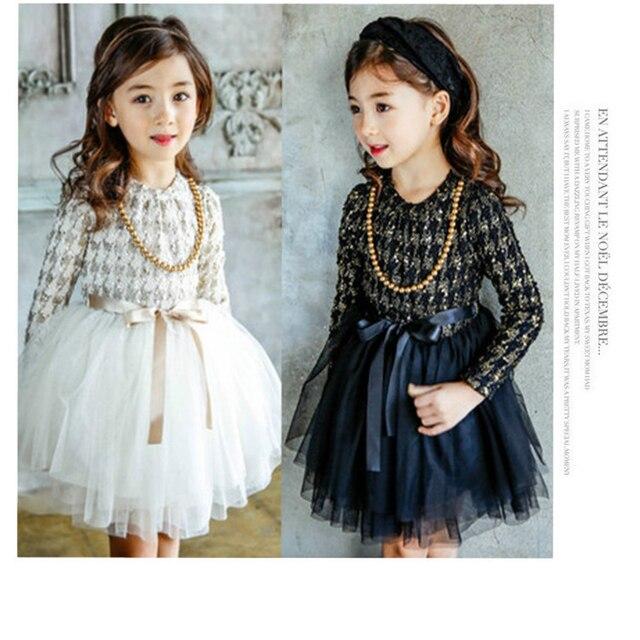 d889a67b8 أطفال فساتين للبنات الخريف 2017 الجديدة كوريا طويل الأكمام منقوشة بنات حزب  اللباس vestidos infantil الملابس