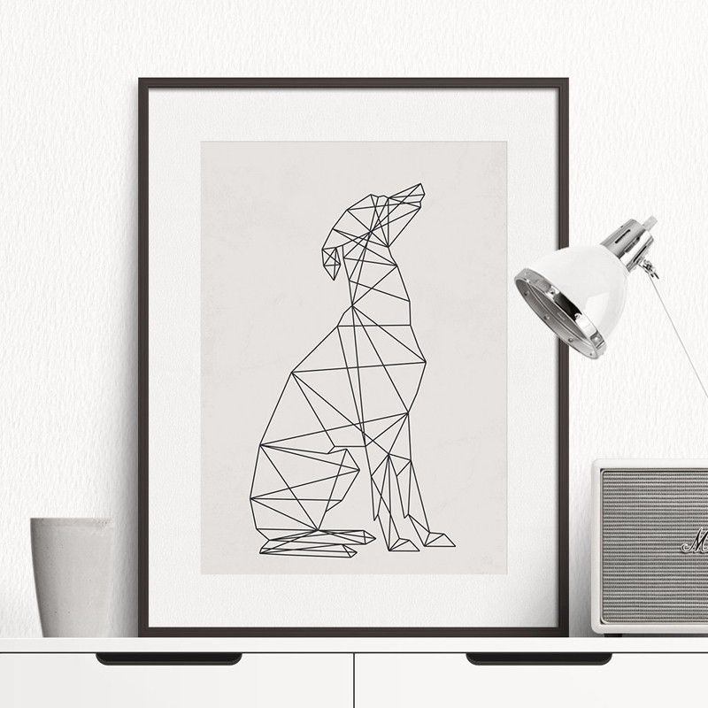 Animal Dog Art Minimal Greyhound Poster Wall Art Print Canvas Geometric Lines Minimalist Painting Home Decor Frames Not included