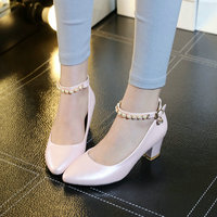 Size 34 43 Blue Ankle Strap Beading Ladies Spring Shoe Square High Heel PU Leather Woman