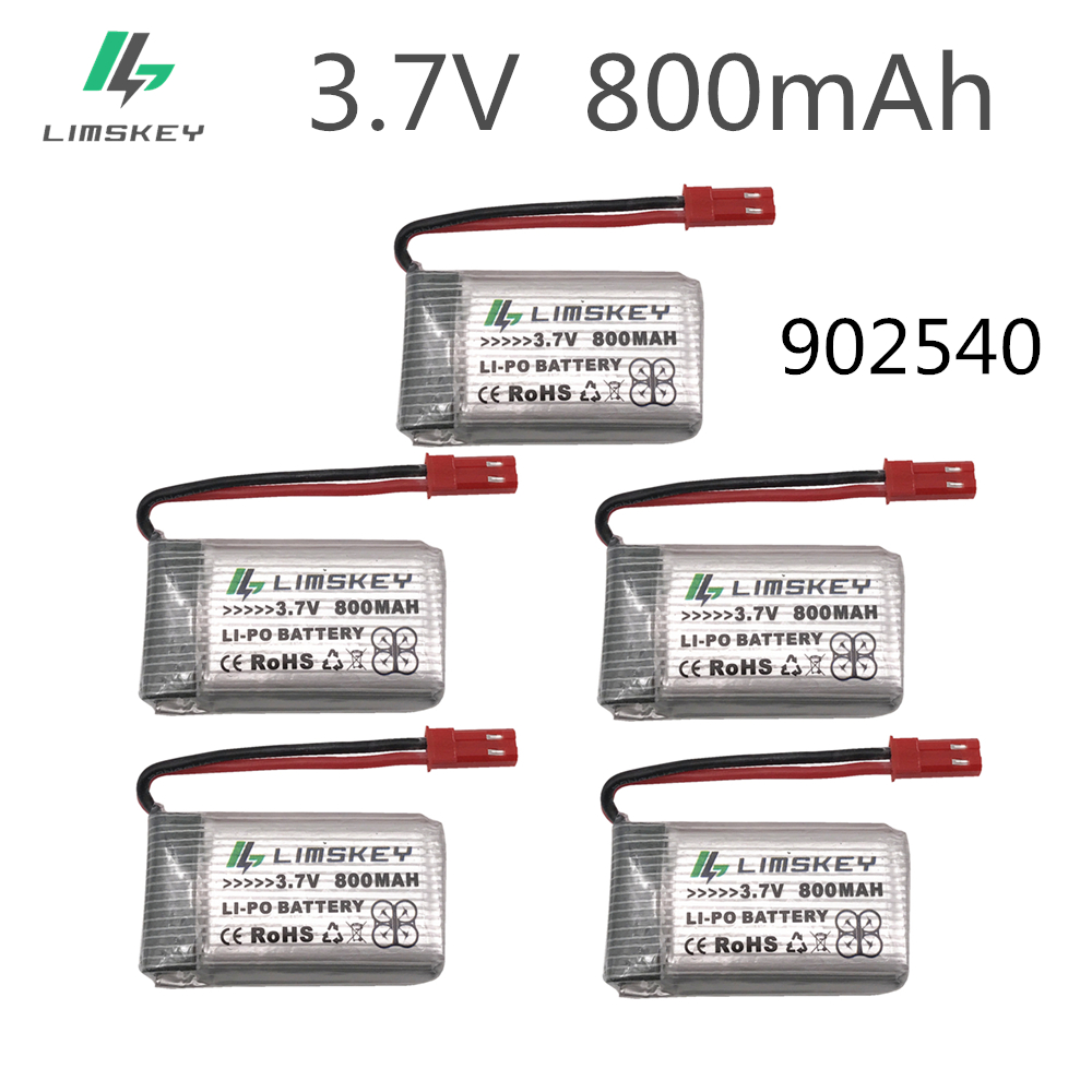 5pcs RC Drone Lipo Battery JST 902540 3.7V 800mAh Lipo 1S Battery For MJX x400 X300C X800 Quadcopter Parts image