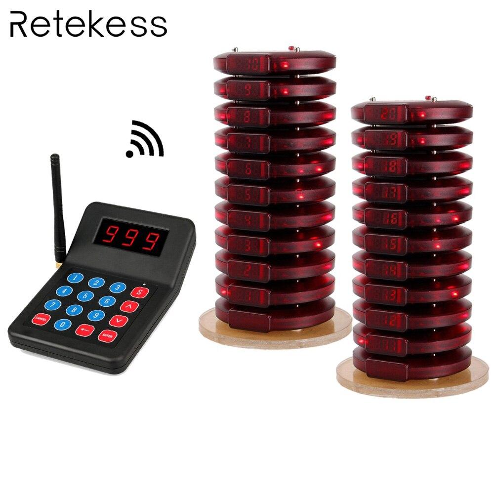 Restaurant Pager système d'appel sans fil 20 Coaster Pager + 1 Émetteur Pager Système D'appel Service À La Clientèle Pour La Restauration rapide F3357