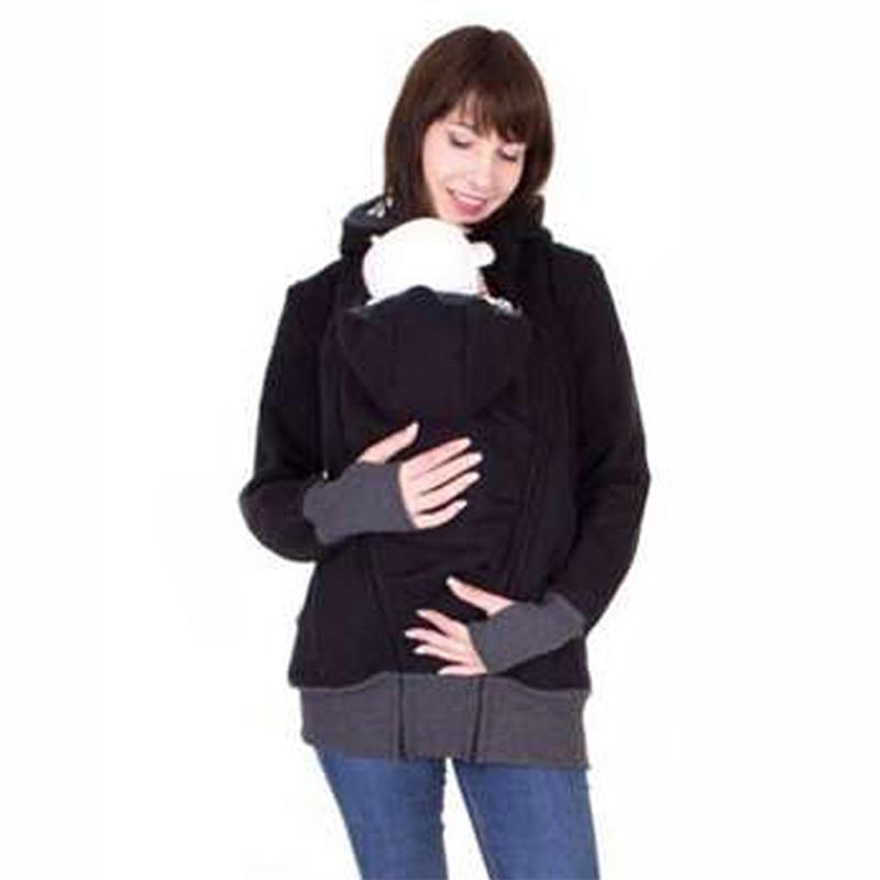 fashion style long sleeve mother autumn winter women hoddies carry baby infant sweatshirt zipper coat maternity