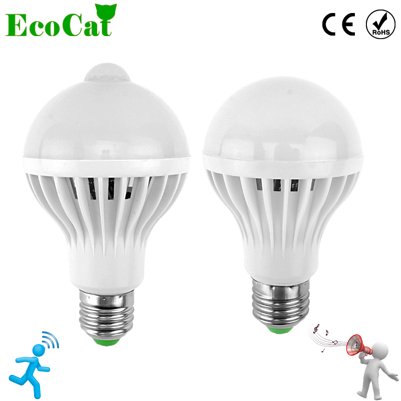 ECO Cat LED PIR Motion Sensor Lamp 3w 5w 220v Led Bulb 7w 9w 12w Sound+Light automatic Smart Sensor Control Led Light