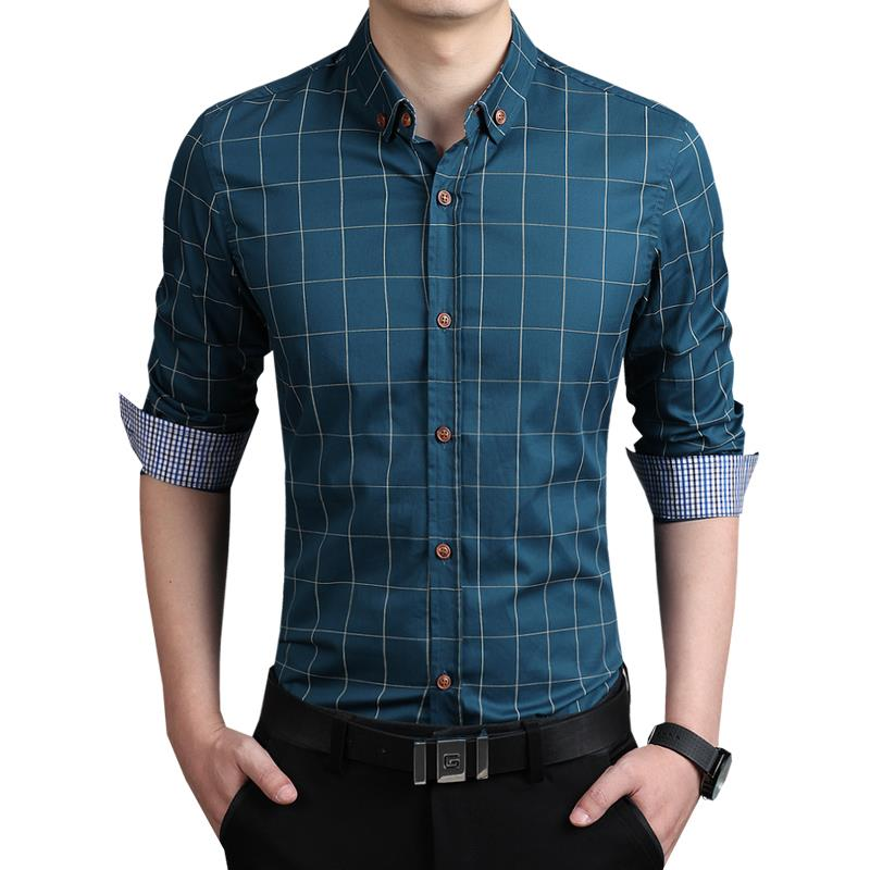 ZhenZhou Plaid Heren Shirt Lange Mouw Slim Fit M-5XL 100% Katoen - Herenkleding - Foto 2