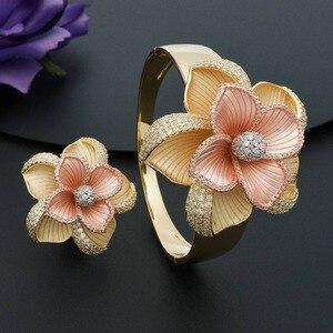 Image 4 - ModemAngel Luxury Large Bloom Flower Bracelet Bangle and Ring Set for Women Engagement Wedding Party