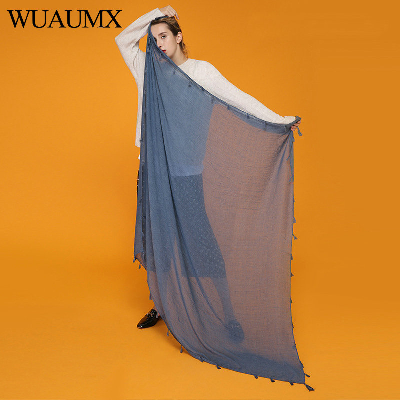 Wuaumx Fashion 140*140cm Square   Scarf   For Women Cotton Blends Soft   Scarf   Hijab Thin   Scarves     Wraps   Shawl Tassel Foulard Femme