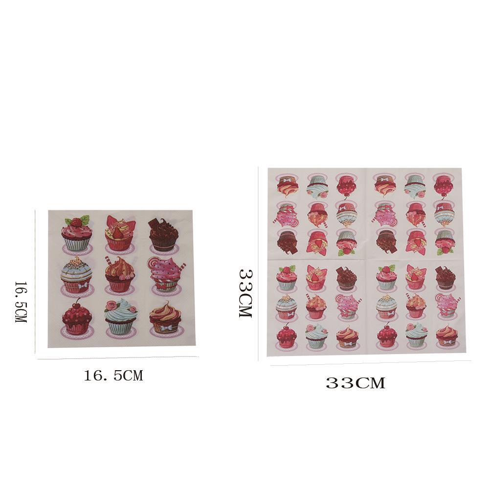 20pcs/bag Cake Paper Napkin Tissue Decoupage Ornaments Birthday Wedding Decoration Party Supplies 33X33CM