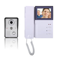 4 Inch Video Door Intercom Phone Intercom System Doorbell Kit Night Vision IR Camera TFT LCD