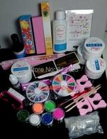 2018 Pro Full Acrylic Glitter Powder Glue French Nail Art UV Builder Gel Tip Kit Set