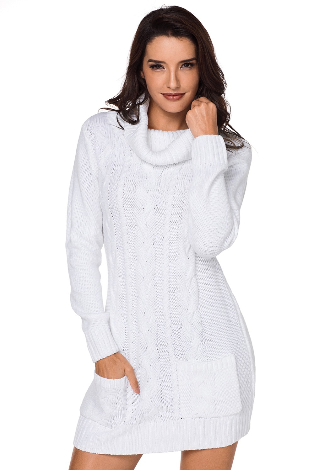 White-Cowl-Neck-Cable-Knit-Sweater-Dress-LC27836-1-5