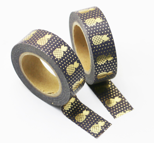 Free Shipping Christmas Golden Foil Washi Paper  Tape/black  And Purper  Background Golden Pineapple Washi  Tape/15mm*10m