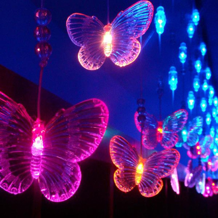 10M 38LED Butterfly Garland AC110V 220V Fairy String Christmas Lights Indoor Outdoor For Xmas Wedding Decoration zinuo 30m 50m 100m led garland ac110v 220v fairy string waterproof christmas lights outdoor for xmas wedding decoration
