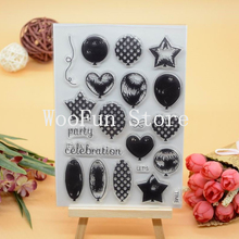 CS1074 Scrapbook DIY Photo Album Cards Transparent Acrylic Silicone Rubber Clear Stamps Sheet  11x16cm Balloon
