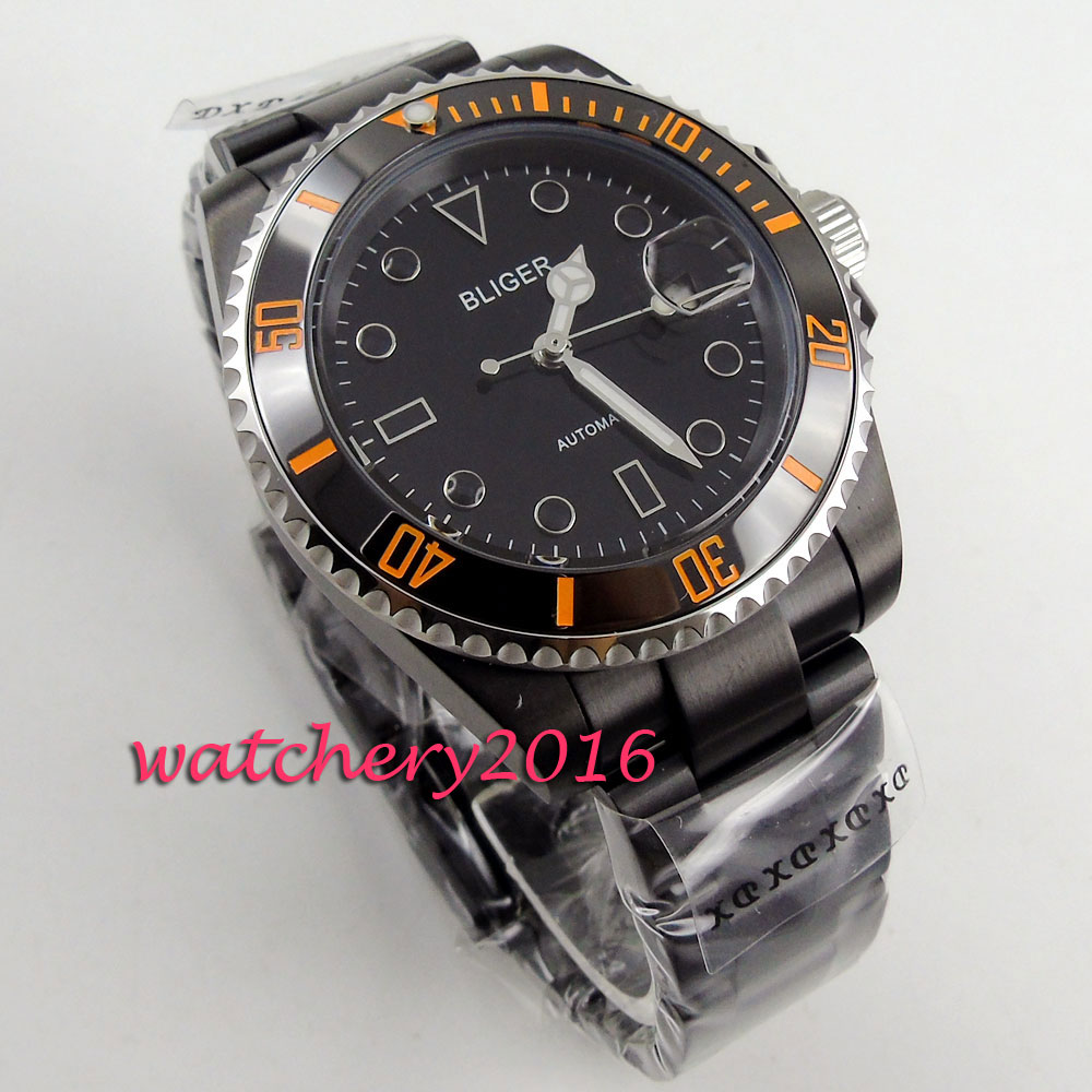 NEW 40mm Bliger black dial PVD Luminous Hands Rotating Bezel Top brand luxury Sapphire glass Automatic movement Mens WatchNEW 40mm Bliger black dial PVD Luminous Hands Rotating Bezel Top brand luxury Sapphire glass Automatic movement Mens Watch